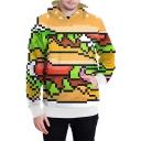 Popular Game Minecraft 3D Printed Long Sleeve Unisex Orange Hoodie