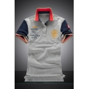 Rib Collar Colorblocked Air Force One Logo Print Short Sleeve Cotton Polo Shirt for Men