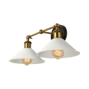 Industrial 2 Light Double White Shade Wall Light of Vintage Style