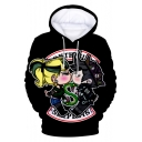 Fashion Snake Logo Cartoon Printed Long Sleeve Drawstring Hoodie in Black