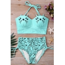 Lovely Cartoon Cat Printed Halter-Neck High Waisted Lace-Up Side Retro Swimwear