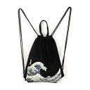 Japan Ukiyoe Surfing Print Drawstring Canvas Shopping Bag Backpack