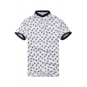Guys Fashion Allover Skull Print Contrast Trim Stand-Collar Classic-Fit Cotton Polo