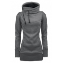 Slim Hooded Plain Long Sleeve Tunic Hoodie Sweatshirt