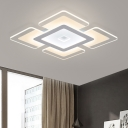 White Square Ultrathin Lighting Fixture Modern Design Energy Saving Acrylic LED Ceiling Light