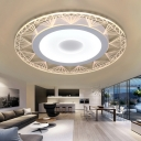 Acrylic Disc Surface Mount Ceiling Light with Diamond Pattern Concise LED Flushmount in Warm/White