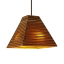 Single Light Pyramid Suspended Light Nordic Style Brown Paper Pendant Lamp for Restaurant
