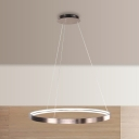 Metallic Ultra Thin Ring Hanging Lamp Minimalist Modern Decorative LED Suspended Light in Brown