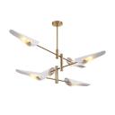 Brass Finish Linear Lighting Fixture Modern Design Metallic Multi Lights Art Deco Chandelier Lamp