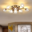 Vintage Twist Semi Flush Light with Gourd Glass Shade Multi Light Ceiling Lamp in Brass Finish