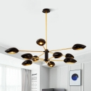 Plastic Shade Linear Hanging Chandelier Nordic Style Multi Light Art Deco Hanging Light in Gold