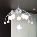 Chrome Curved Arm Suspension Light Post Modern Opal Glass 6 Heads Chandelier Ceiling Light