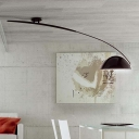 Black Arched Semi Flush Light Minimalist Modernism Metal Single Light Indoor Lighting Fixture