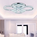 Modernism Multi Circle Lighting Fixture Crystal LED Semi Flush Light Fixture in Warm/White