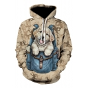 Lovely 3D Cartoon Cat with A Bag Printed Long Sleeve Camo Khaki Drawstring Hoodie