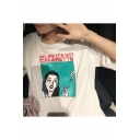 IT'S NOT CIGARETTE Cartoon Smoking Girl Loose White Graphic Tee