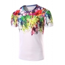 3D Floral Tie Dye Print White Basic Short Sleeve T-Shirt