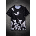 Fashion Crane Pattern Basic Round Neck Short Sleeve Hip Hop Black Tee