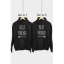 BEST FRIEND Letter Arrow Pattern Loose Casual Long Sleeve Black Hoodie