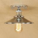 Conical Mini Semi Flush Light Fixture Concise Loft Style Metal 1 Light Semi Flush Mount in Polished Chrome