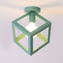 Modernism Cubic Ceiling Flush Mount Colorful Metal Frame 1 Bulb Semi Flush Light Fixture for Kids Children
