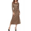 Women's New Fashion Round Neck Long Sleeve Trendy Printed Splited Side Midi A-Line Coffee Dress