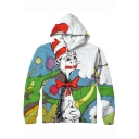 Funny 3D Cartoon Santa Claus Printed Long Sleeve Pullover Drawstring Hoodie
