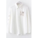 Lovely Cartoon Cat Letter LOVE Embroidered White Long Sleeve Button Shirt