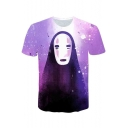 3D Cool Comic Character Printed Short Sleeve Purple T-Shirt