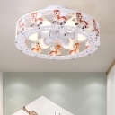 6 Lights Drum Ceiling Light with Cartoon Horse Nursing Room Metal Semi Flush Mount in White