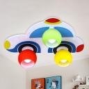 Cartoon Car 3 Lights Ceiling Fixture Multi Color Glass Shade Flush Mount for Boys Room