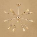 Gold Starburst Hanging Light Fixture Vintage Metallic Multi Light Suspension Light