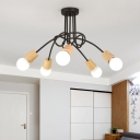 Open Bulb Suspension Light with Black Twisted Arm Nordic Style Wooden Multi Light Lamp Light