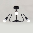 3 Lights Curved Arm Hanging Light Industrial Modern Metallic Chandelier in Black