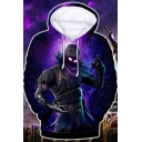 Cool 3D Figure Galaxy Pattern Long Sleeve Pullover Purple Hoodie