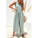 Casual Loose Simple Plain Round Neck Sleeveless Backless Leisure Jumpsuits