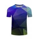 Trendy 3D Blue Geometric Printed Short Sleeve Basic T-Shirt