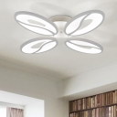 White Oval LED Semi Flush Light Modernism Simple Acrylic 4/6 Heads Ceiling Lamp for Living Room