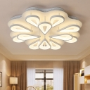 Multi Light Teardrop Semi Flush Mount Modern Chic Acrylic LED Ceiling Lamp in Warm/White/Neutral