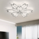 White 2 Tiered Ceiling Lamp with Floral Design Modern Chic Metallic 9/12/15 Lights LED Lighting Fixture