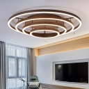 3/4 Halo Ring LED Flush Mount with Linear Canopy Stylish Rotatable Metal Ceiling Lamp in Coffee