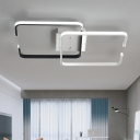 Geometric Square Semi Flush Mount Modernism Metal LED Ceiling Light in Black and White
