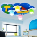 Sailboat Ceiling Lamp Boys Girls Bedroom Wooden 4 Lights Flush Mount Lighting with Blue/Pink Canopy