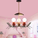 Open Bulb Lighting Fixture with Beach Chair Children Bedroom Metal 3 Lights Hanging Light in Pink
