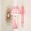 Checkered Fabric Shade Wall Light with Blue/Pink Cartoon Giraffe Boys Girls Room 1 Head Sconce Light
