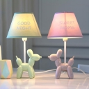 Tapered 1 Light Table Light with Cartoon Dog Base Blue/Green/Pink Fabric Shade Desk Lamp for Bedside
