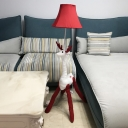Red Fabric Shade Floor Lamp with Cartoon Deer Single Head Standing Light for Nursing Room