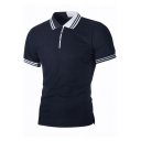 Men's Simple Striped Trim Contrast Collar Three-Button Casual Polo Shirt