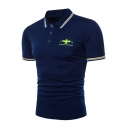 Trendy Contrast Tipped Short Sleeve Men Slim Fitted Eagle Logo Polo Shirt