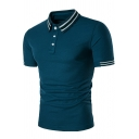 Summer Simple Striped Rib Collar Short Sleeve Stretch Slim Fit Polo Shirt for Men